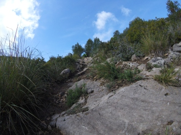 The first half of the route with quickly drying rocks