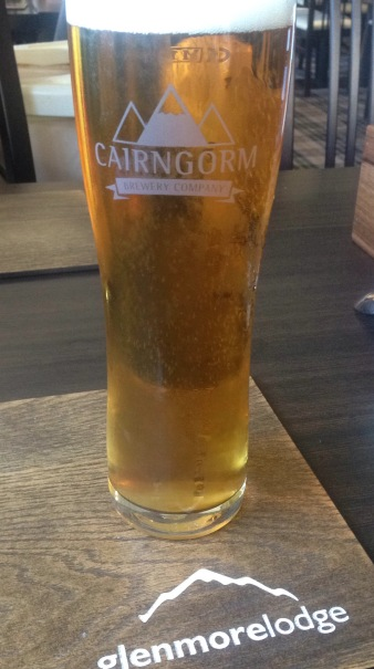 Cairngorm lager served at Glenmore Lodge- a good end to a day on the hills