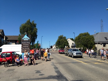 The finish line on the bustling main street of Aviemore