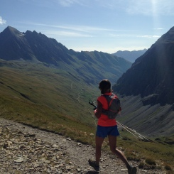 North Face athlete and second placed woman Rory Bosio heads off down the valley