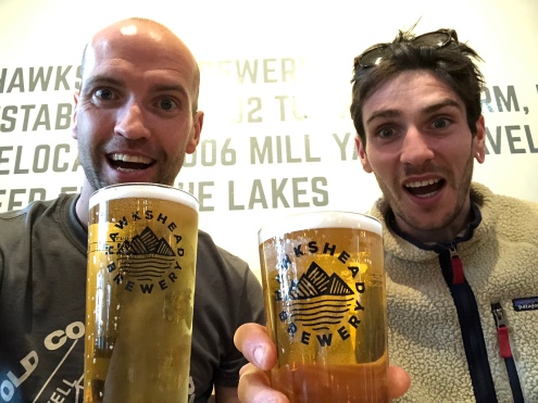 Post race refreshment in Hawkshead Brewery, obv's