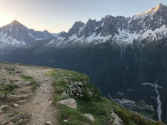 Sunrise over the Aiguilles