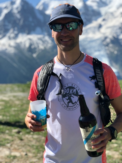 A well deserved beer watching the Mont Blanc marathon finish the day after my 90k